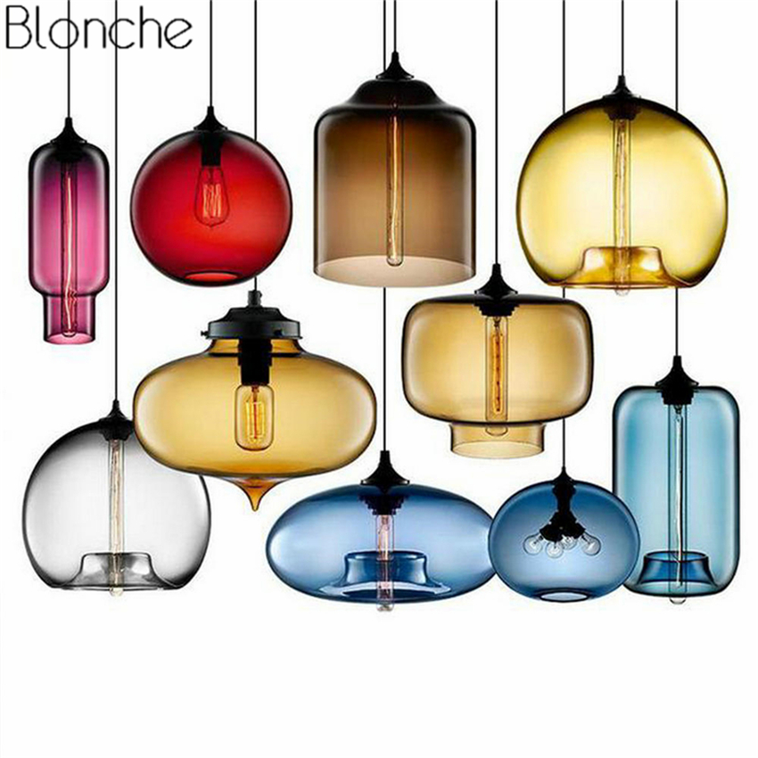Modern Stained Glass Pendant Lights Colorful Hanging Lamp Loft Hanglamp For Dining Room Kitchen Home Fixtures Industrial Decor