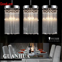 Modern fashion simple luster chandelier LED k9 crystal pendant lamp Restaurant lights Balcony aisle lamp 110v 260v Voltage light
