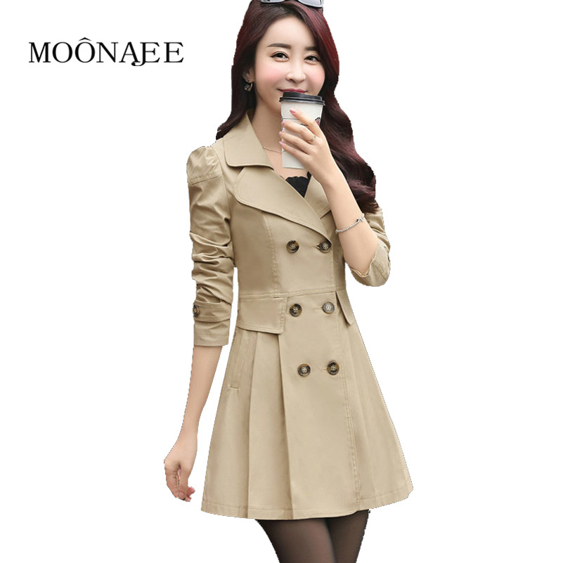 Spring Autumn Women Windbreakers Fashion Double Breasted Female Slim Trench Coats OL Raincoat Outerwears Plus Size FY15