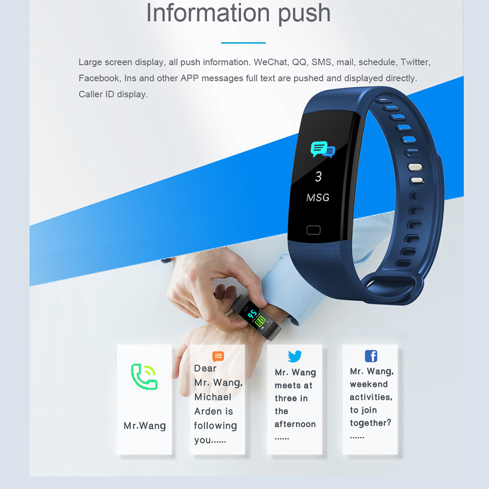 TimeOwner Smart Band Y5 Heart Rate Blood Pressure Monitor High Brightness Colorful Screen Smart Bracelet Wristband Notification 3