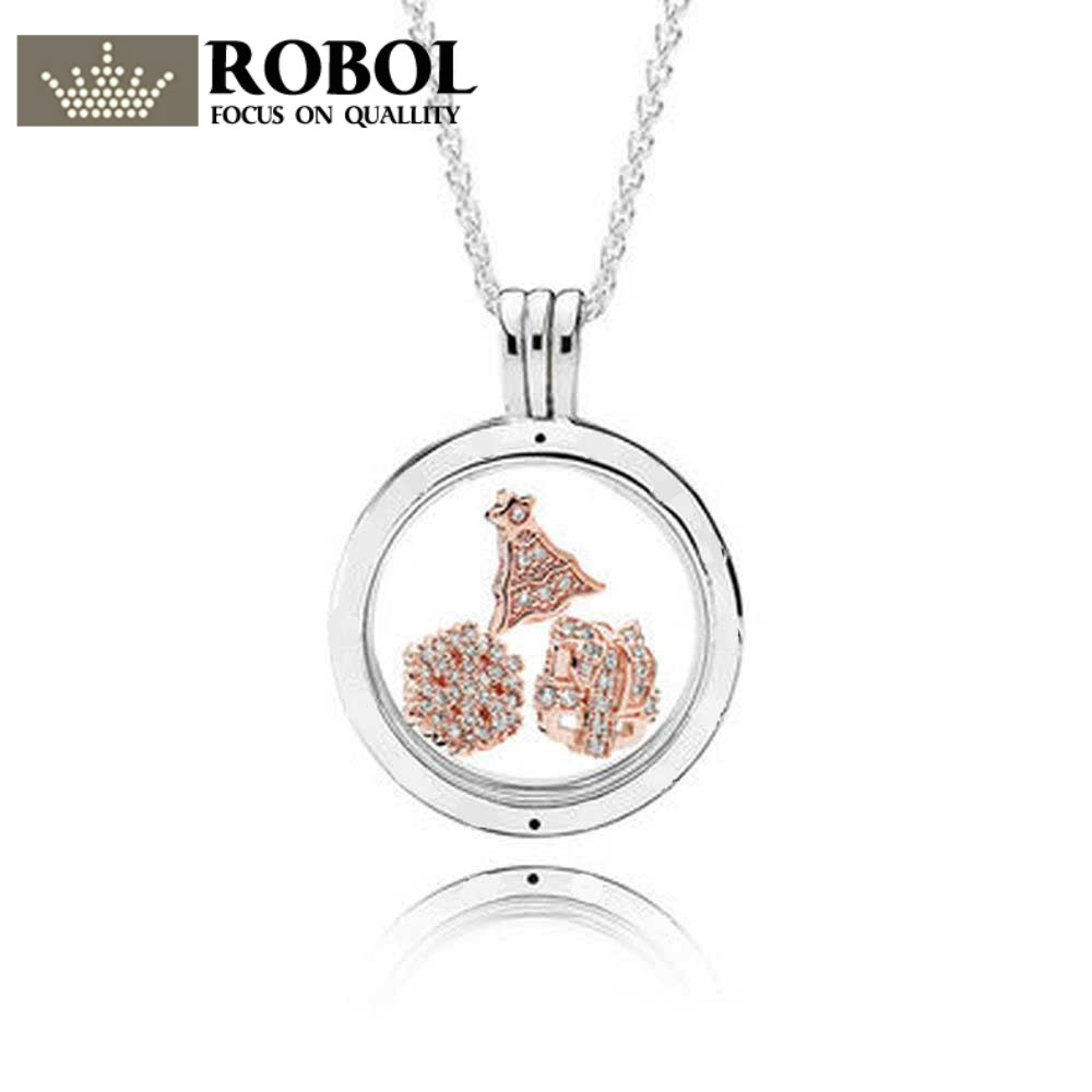 100% 925 Sterling Silver ROSE FLOATING LOCKET SET fit charm original Necklace jewelry A set of prices