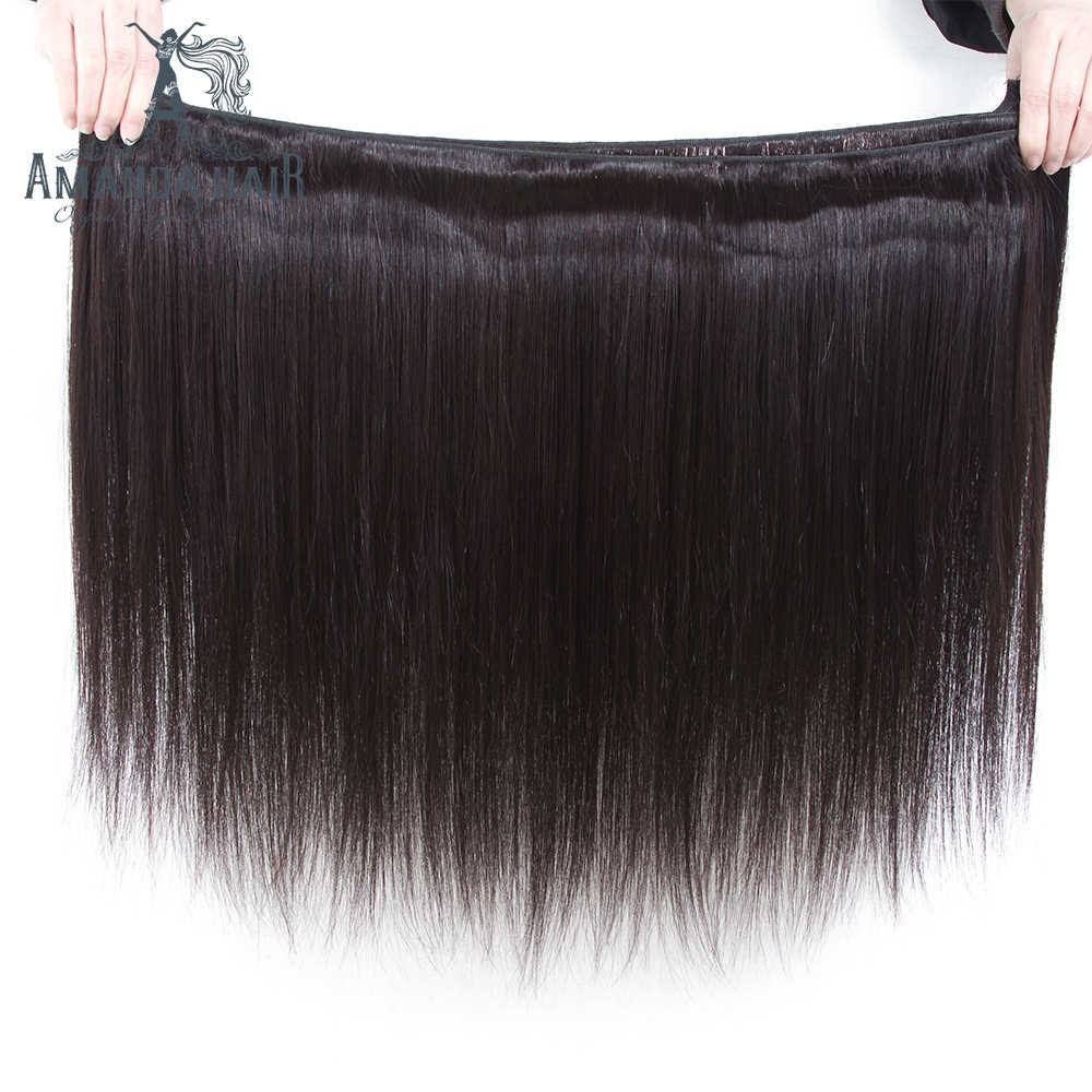 Аманда бразильские пучки волос плетение прямые 100% человеческие волосы 3/4 пучки предложения remy волосы для наращивания Бесплатная доставка 8-28 дюймов