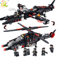 HUIQIBAO Toys 577PCS Military Submarine Helicopter Building Blocks For Children Compatible Legoed Police Swat Soldier kit Bricks