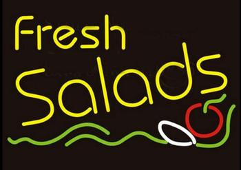 Custom Fresh Salads Glass Neon Light Sign Beer Bar