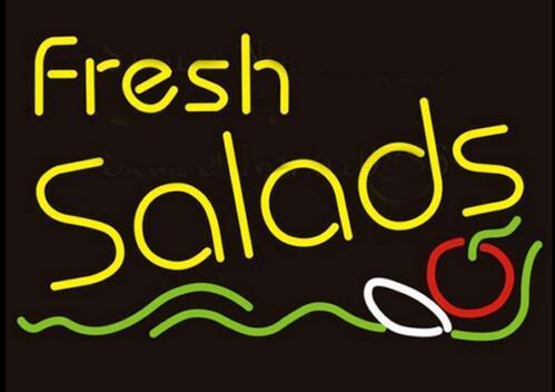 Custom Fresh Salads Glass Neon Light Sign Beer Bar