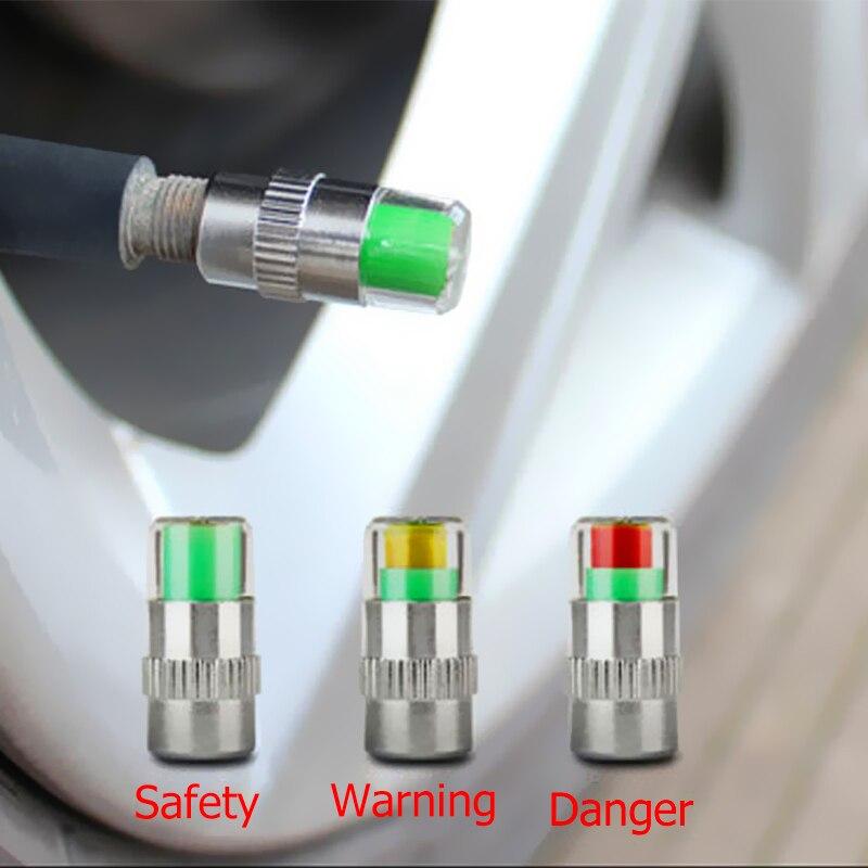 1/2/4 Uds. Monitor de presión de neumáticos para automóvil 36PSI Sensor de alerta de Gage de neumáticos tapas de válvula indicador Kit de herramientas de diagnóstico