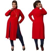 2017 Winter Women Dress Plus Size Women Clothing Long Sleeve High Slit T Shirt Dress Maxi