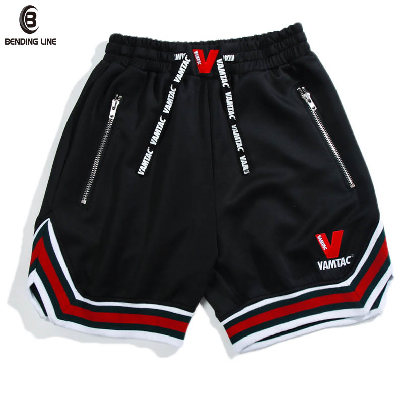 Bending line Cotton Shorts Men Fashion Brand Boardshorts 2018 New Street Striped Letter Drawstring Man Fitness Harem Shorts