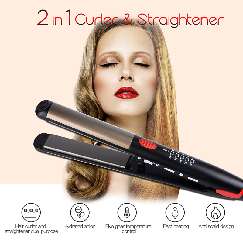 Portable 2-in-1 Titanium Dual Use Hair Straightener Hair Curler roller Flat Iron Curling Iron hair care styling tool beauty lady professional lili titanium hair straightener iron flat iron hair straight hair curly dual function hair styling tools home use