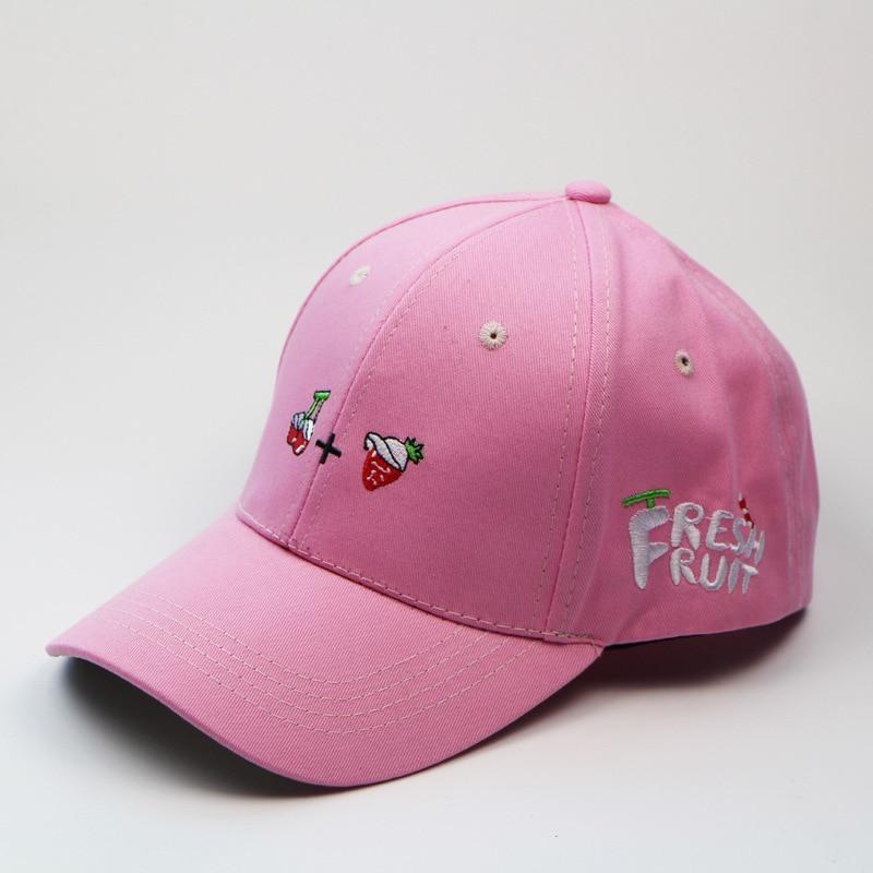 7add0a68b60 Japan Korean Soft Sister Girl Street Summer Cherry Strawberry Peach  Embroidery Pink Baseball Sun Hat Cap Snapback Kawaii Lolita-in Baseball Caps  from ...