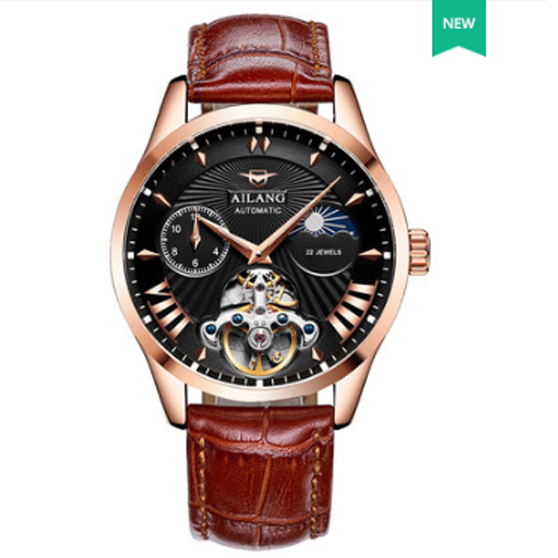 AILANG Luxury Lunar Phase Automatic Watch Men Chronograph Tourbillon Mens Skeleton Mechanical Watches Male Relogio Brand forsining mens watch top brand luxury tourbillon militarysport watch male business skeleton watches automatic mechanical watches