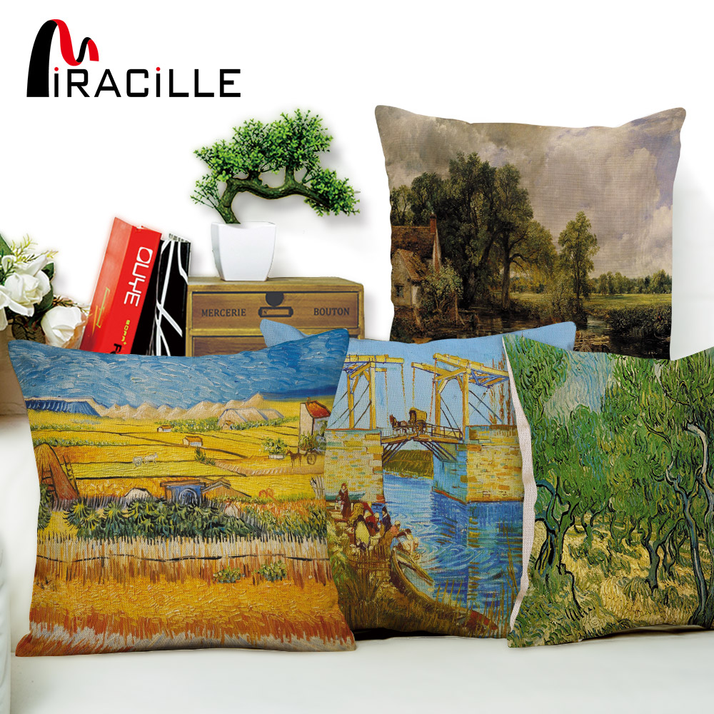 Miracille Van Gogh Oil Painting Style Art Cushion Cover Linen Cotton Pillowcase for Sofa Car Chair Decor Square 18 Pillow Cover
