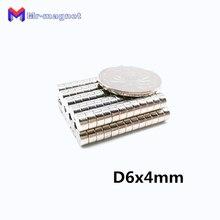 200 шт 6x4 неодимовый магнит постоянный Permanent супер 6*4 супер сильный, мощный маленький круглый Магнитный Магнит диск 6 мм x 4 мм