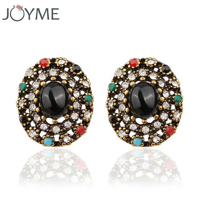 Indian Vintage Jewelry Flower Crystal Ear Clip On Earrings For Women With Black Colored Stones