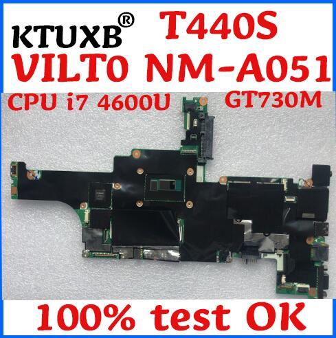 KTUXB Lenovo ThinkPad T440S VILT0 NM-A051 laptop motherboard CPU i7 4600U GT730M 1G DDR3 4G RAM 100% test work