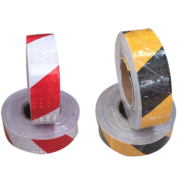 (6 Rolls/ lot ) Wholesale Reflective Safety Conspicuity Tape Adhesive Hazard Warning Tape red/white black/yellow