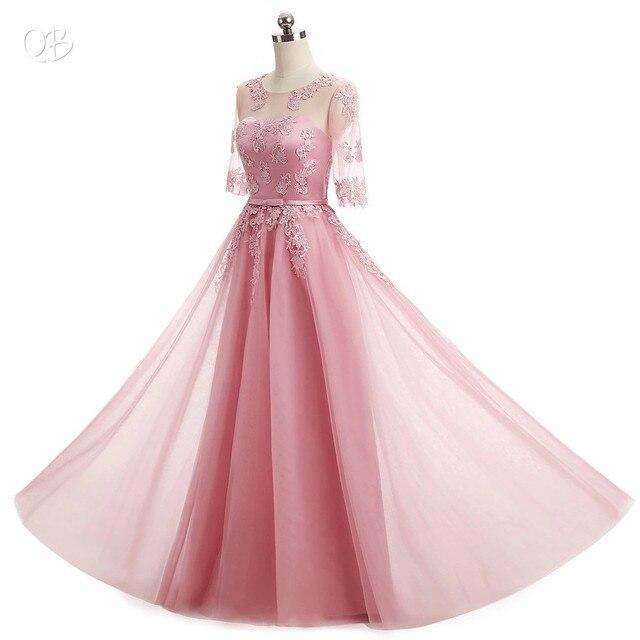 Half Sleeve Floor Length Tulle Lace Bridesmaid Dress 4