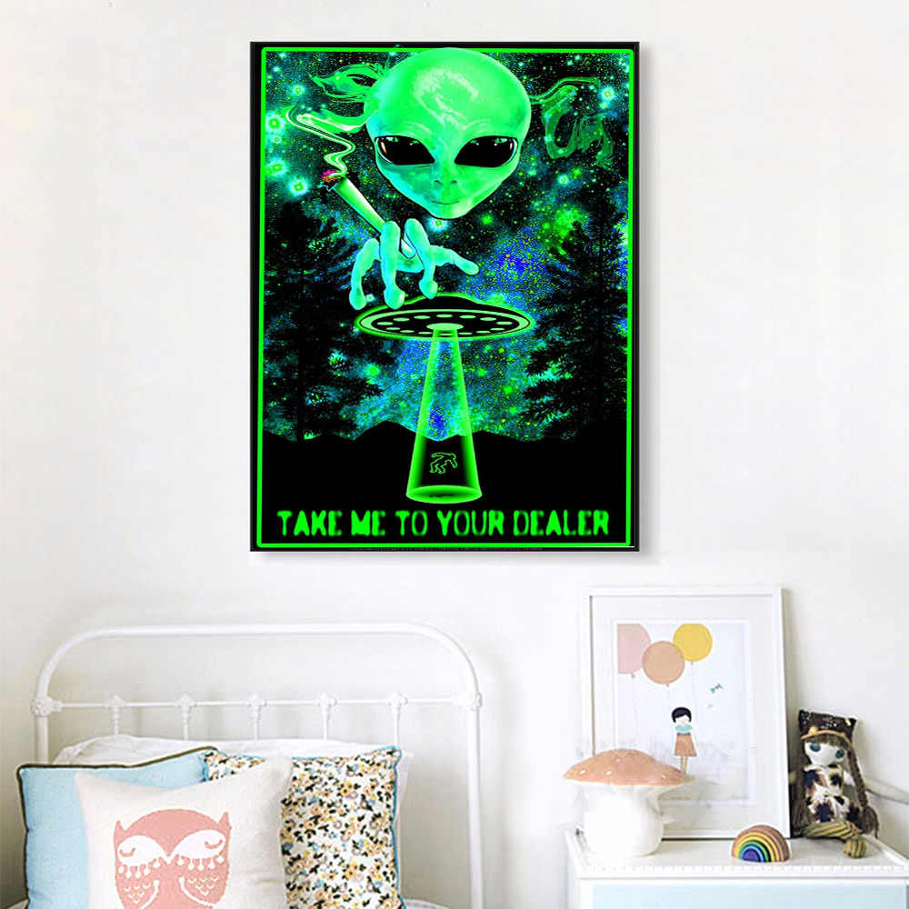 Abstract Stoned Bone Black Light Silk Posters and Paints Shantou Wall Pictures Take Me To Your Dealer Canvas Painting Home Decor