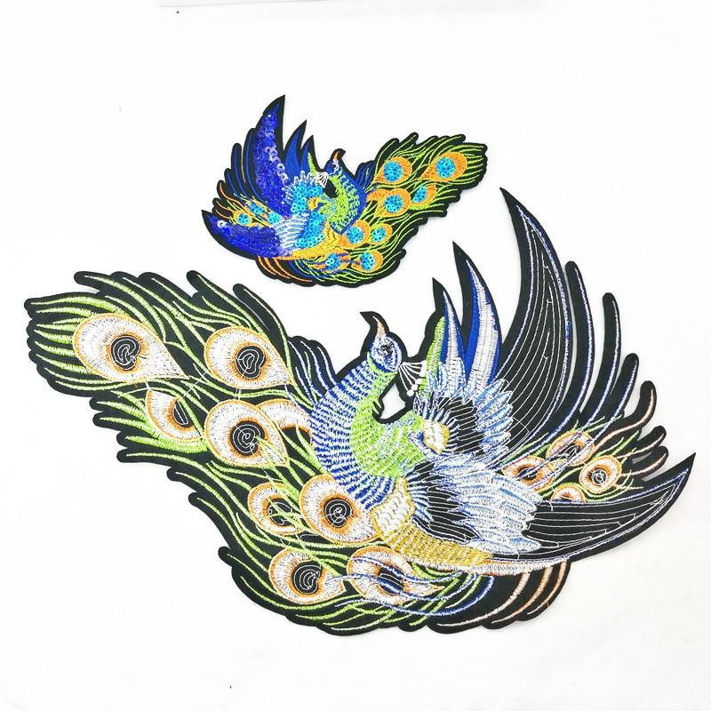 2 sztuk Peacock Sequined Łaty do Odzieży Szycia na phoenix odzieży - Sztuka, rękodzieło i szycie - Zdjęcie 2
