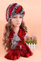 Pelz set schal hut Beste Preis weibliche rex kaninchen pelzmütze mode herbst winter warme schal, 3 farben handgemachte gestrickte H304