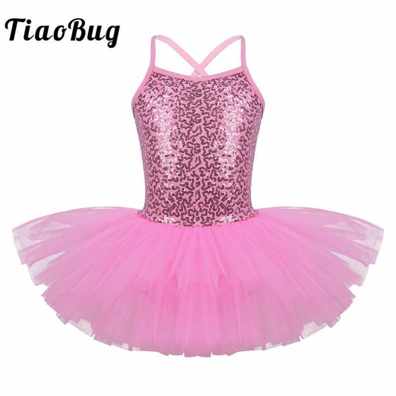 TiaoBug Çocuk Kız Parlak Payetli Profesyonel Bale Tutu Elbise Çocuk Sahne Performansı Dans Leotard Lirik Dans Kostümleri