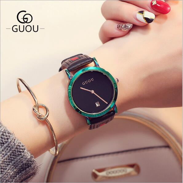 GUOU Women Watches Fashion Color Shell Women's Watch Luxury Leather Band Casual Ladies Watch Clock relogio feminino wristwatch new top brand guou women watches luxury rhinestone ladies quartz watch casual fashion leather strap wristwatch relogio feminino