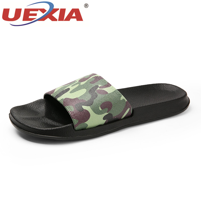 UEXIA Men Slippers Unisex Camouflage Casual Black And White Shoes Non-slip Slides Bathroom Summer Sandals Soft Sole Flip Flops new gjbaw1416 b777 200er british airways g ymmr 1 400 geminijets commercial jetliners plane model hobby