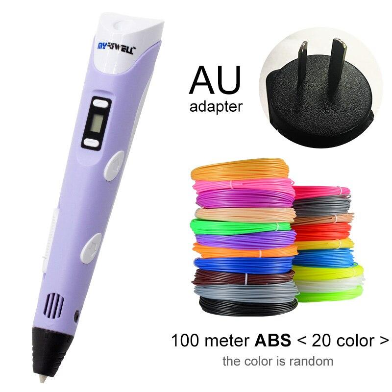 Myriwell, 3D ручка, светодиодный экран, сделай сам, 3D Ручка для печати, 100 м, ABS нити, креативная игрушка, подарок для детей, дизайнерский рисунок - Цвет: Purple AU-100m ABS