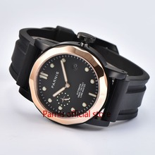 Casual 43mm Parnis Men Mechanical Watches SeaGull Rose Gold Mens Top Brand Luxury Automatic Watch Men Luminous Auto Wristwatch