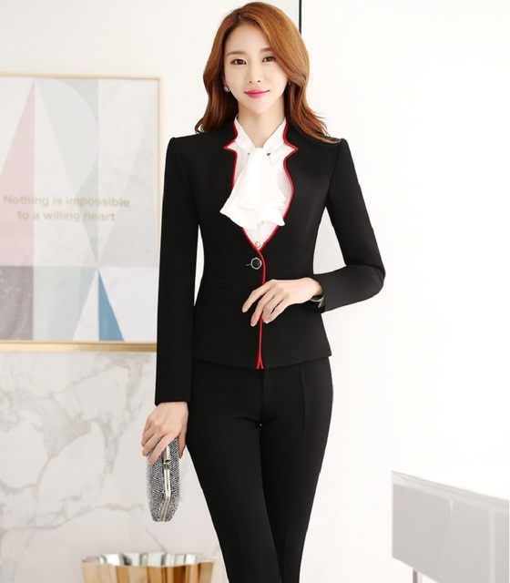 Plus Size Formal OL Styles Female Pantsuits With Jackets And Pants Professional Work Career Pantsuits Ladies Office Trousers Set