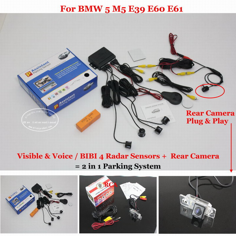 Car Parking Sensors + Rear View Back Up Camera = 2 in 1 Visual Alarm Parking System For BMW 5 M5 E39 E60 E61