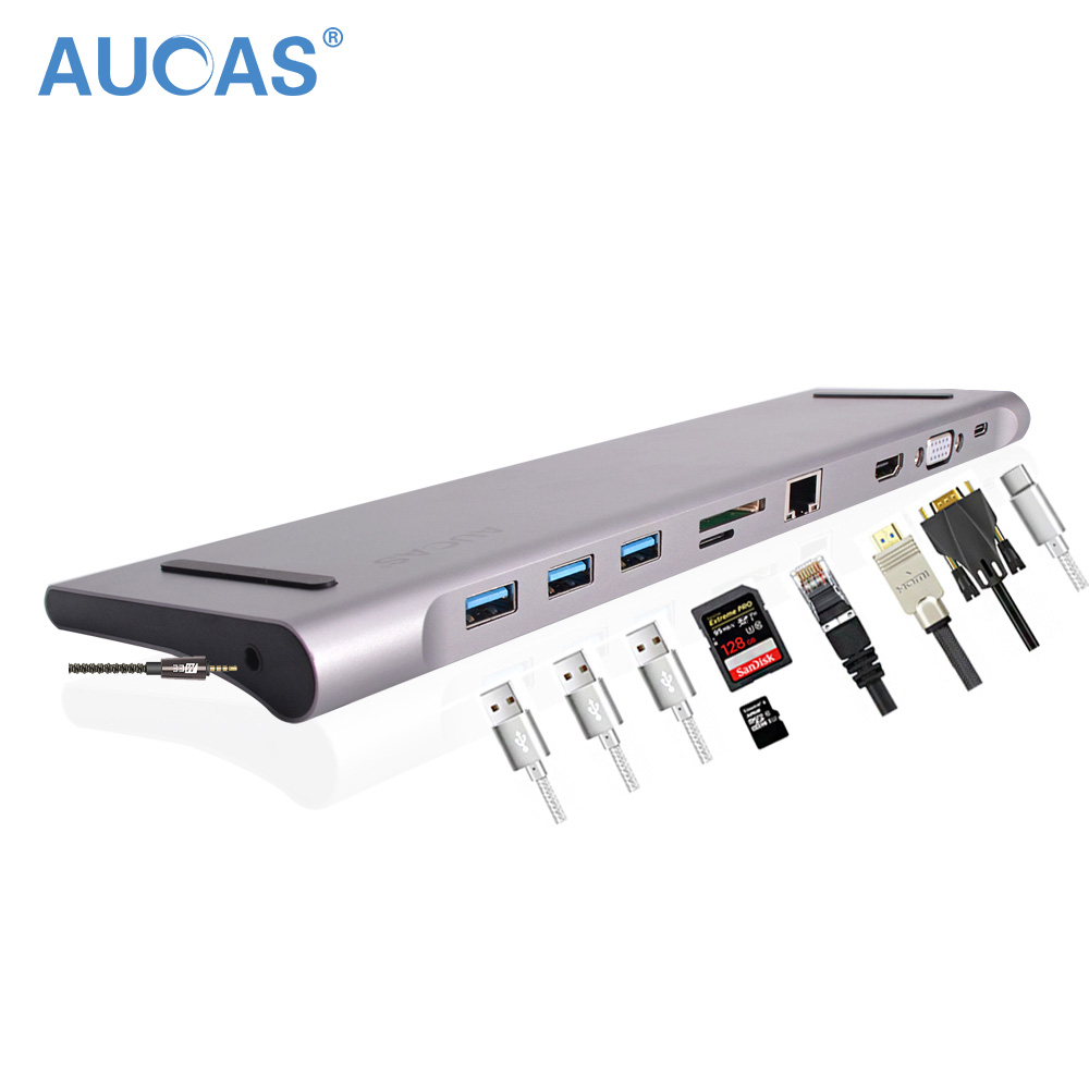 AUCAS USB 3 0 HUB Adapter for Macbook Docking Type C to HDMI VGA 4k Converter