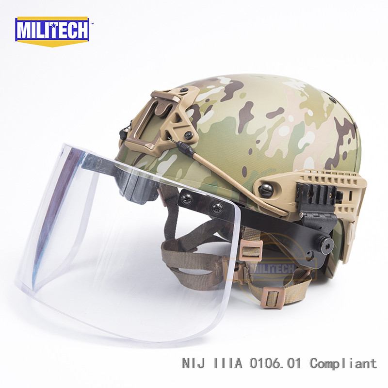 MILITECH Multicam Airframe CP Air Frame Vent NIJ IIIA 3A Bulletproof Helmet Visor Set Ballistic Helmet Shield Bullet Proof Mask