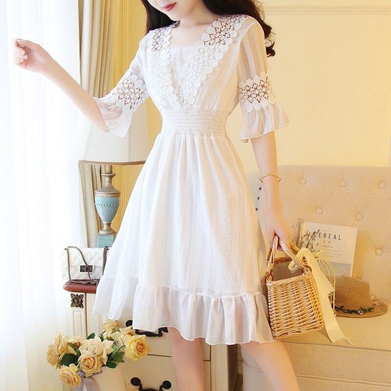 Белый, розовый Mori Girl милое платье 2018 новый летний Для женщин v-образным вырезом Платья из хлопка корейский элегантный Vestidos
