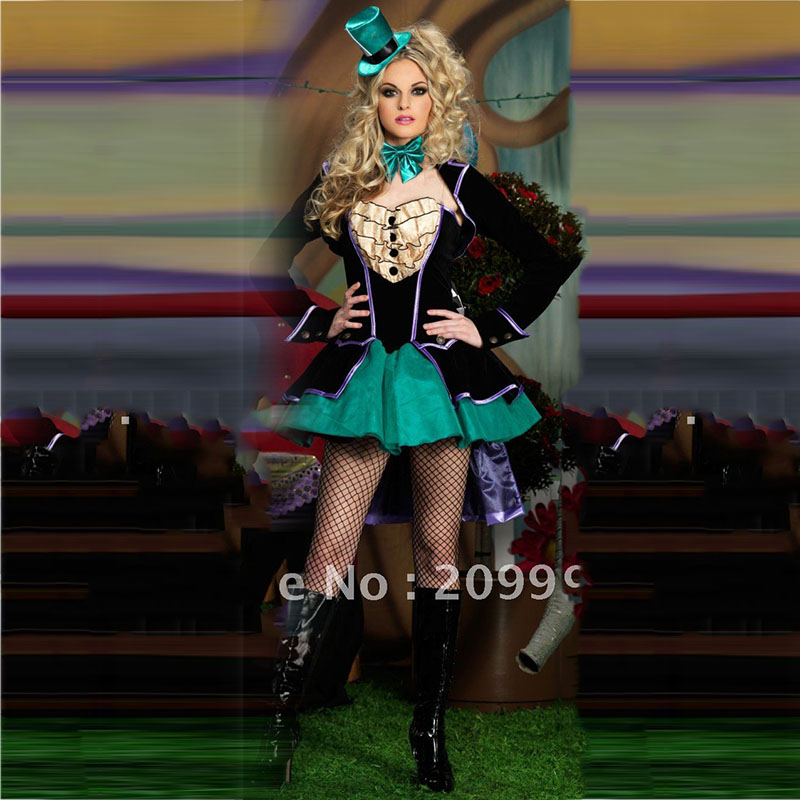 Anime Cosplay Alice In Wonderland Mad Hatter Cosplay Costume Halloween Carnival Costumes for Women Ladies Party Fancy Dress