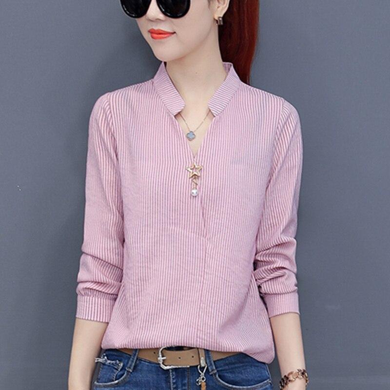 2018 mujeres Blusa de gasa otoño señoras ropa de trabajo camisas de oficina cuello en V de manga larga señoras Tops a rayas Blusa para Mujer Tops