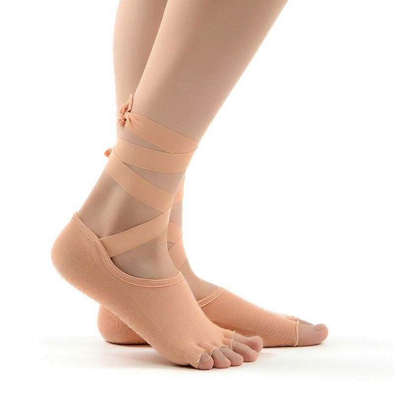 Lace-up toe Fitness socks fitness full New Non-slip Backless Breathable Pilates Ballet  Sports Women Cotton