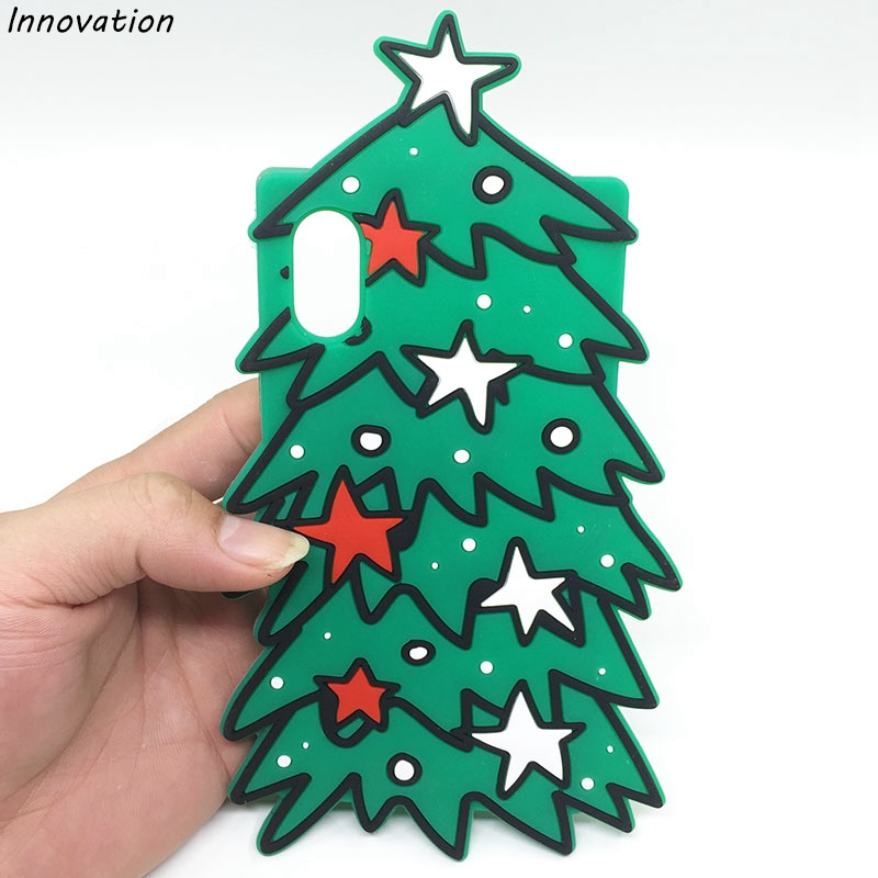 0e32f18f1c1cce Merry Christmas Tree Gift Happy New Year Phone Back Cover For iPhone X 8 7  6 Plus 5 5S SE 6S Coque 3D Cartoon Soft Silicone Case