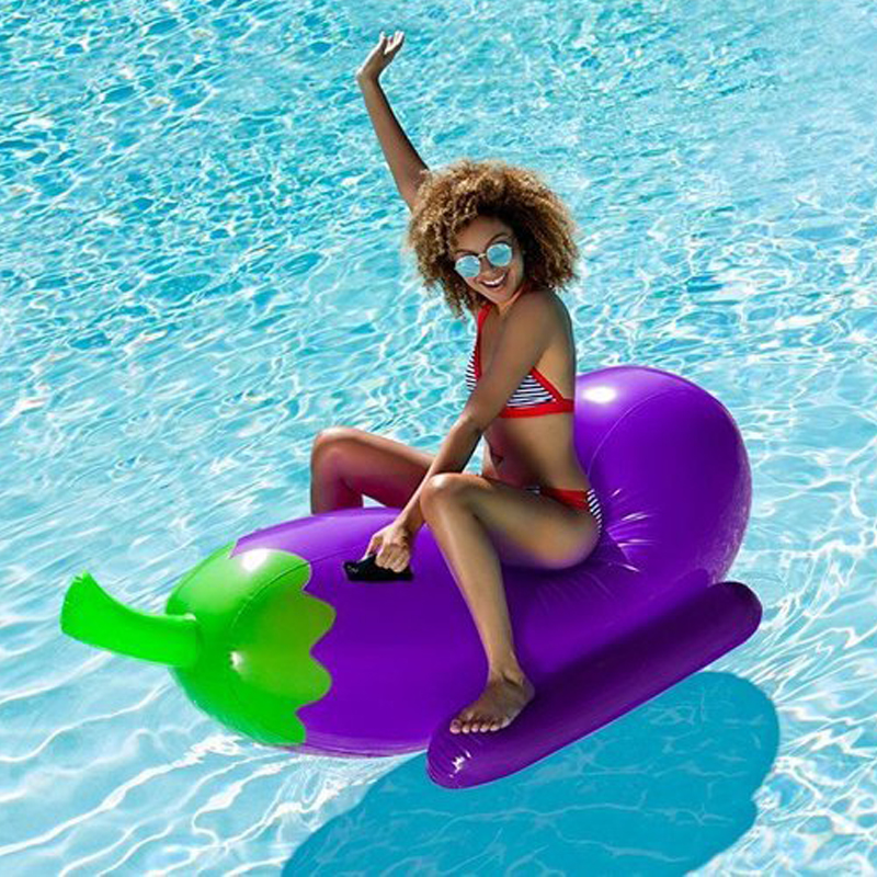 190cm 75inch Giant Inflatable Eggplant Pool Float 2018 Summer Ride-on Air Board Floating Raft Mattress Water Beach Toys boia