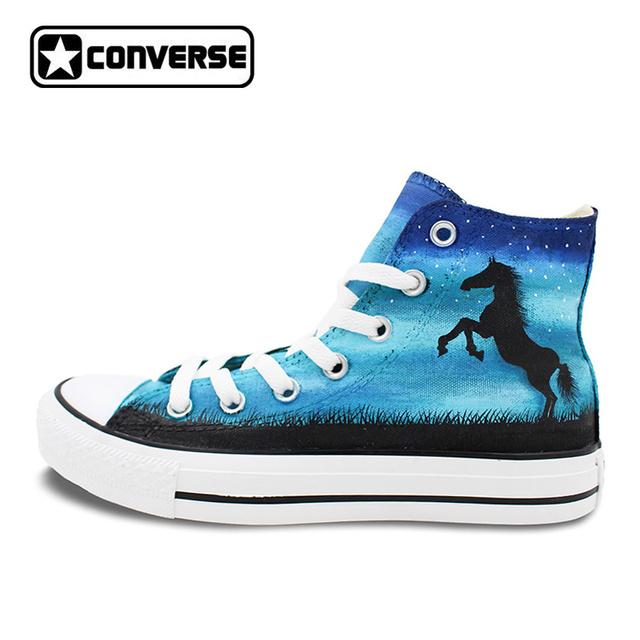 womens Skateboarding Shoes Canvas paint horses Sport Sneaker