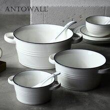 ANTOWALL синяя инкрустация большая тарелка для супа с ручкой Керамическая салат лапша суп чаша, нордический завтрак выпечки инструмент