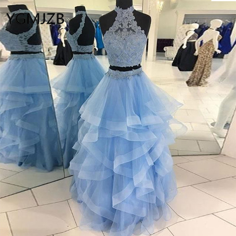 d8a38791cd0 Description  Specification  Reviews (0). Two Pieces Blue Prom Dresses Long  2019 A-Line Halter Ruched Beaded Appliques Lace Organza Women Formal  Evening Gown ...
