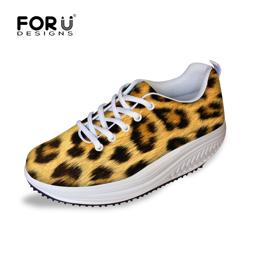 ФОТО FORUDESIGNS 2017 Spring Casual Women's Swing Shoes Cool Leopard Prints Height Increasing Slimming Shoes For Teen Girls Zapatos