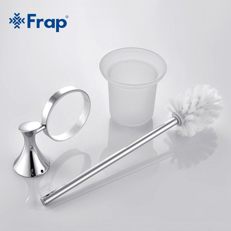 Frap 1 set Moderne Toilettes brosse de toilette titulaire de Zinc alliage de montage siège tasses en verre Salle De Bains matériel Raccord F3510