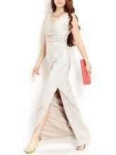 Günstige 2017 Glanz Licht V-ausschnitt Gerade Pailletten Lange Abendkleider Sexy Split Party Prom Kleider Plus Größe Nach Maß