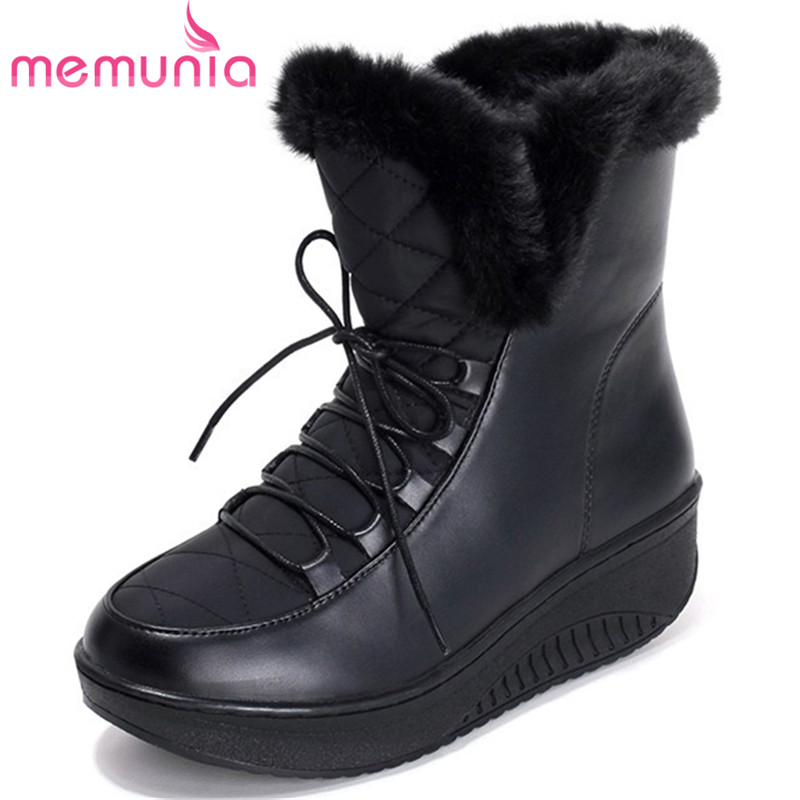 MEMUNIA Big size 35-44 snow boots for women keep warm ankle boots in winter PU down platform shoes solid women boots morazora russia women boots big size 35 44 keep warm snow boots platform winter mid calf boots fashion shoes solid white color