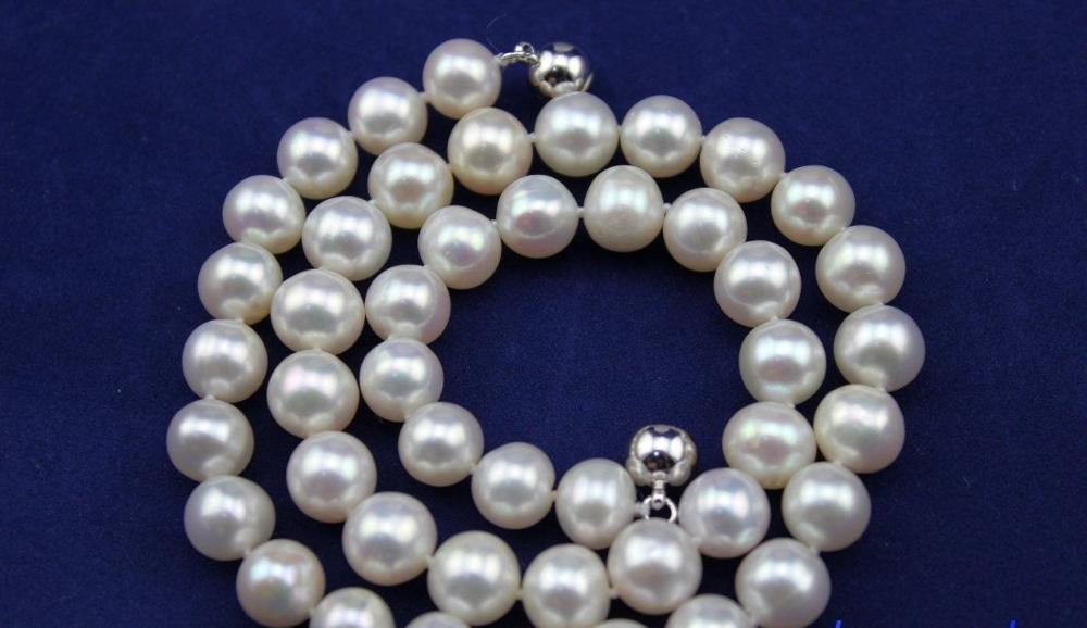 Eau douce collier de perles 9 - 10 mm blanc 17.5 aimant fermoir
