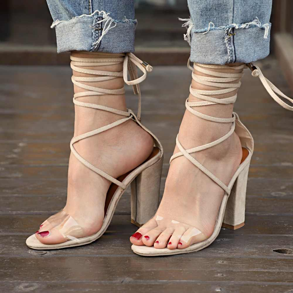 93c58131723325 New Women Heel Sandals Women Lace Up Transparent Shoes Summer Ankle Strap  High Heels Woman Thick