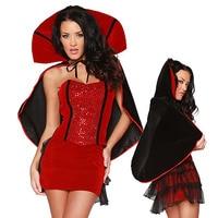 Trois Pièces Sexy Vampire Halloween Costume Pour Femmes Sequin Fantaisie Robe Deguisement Adulte Parti Diable Costume Cosplay M-XL