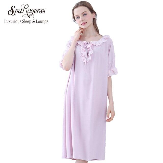099c40ac51 2018 Nightdress for Women Autumn Sexy Comfortable Half Sleeve Sleepwear  100% Cotton Long Nightgowns Woman Sleepshirts YC212